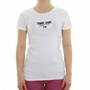 Tommy Jeans Donna Slim Modern Logo Tee T-shirt Bianco (Classic White 100) Medium