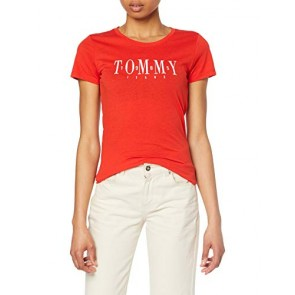 Tommy Jeans TJW Casual Tommy Tee T-Shirt, Rosso (Flame Scarlet 667), M Donna