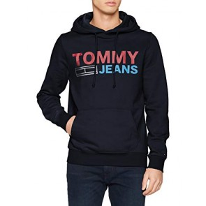 Tommy Jeans Uomo CORP LOGO HOODIE Cappuccio Maniche lunghe Blu (Black Iris 002) Large