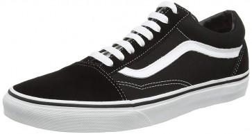 Vans Old Skool Leather Sneaker Unisex Adulto, Nero (Black/White), 45