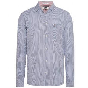 Tommy Hilfiger Camicia in Puro Cotone A Righe Bianco/Blu TG L