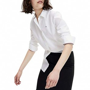 Tommy Jeans Donna Slim Fit Oxford Shirt Camicia sportiva Bianco (Classic White 100) Large