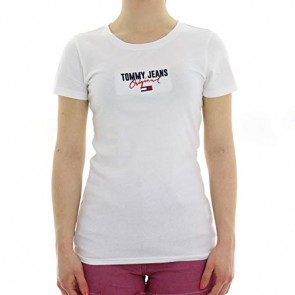 Tommy Jeans Donna Slim Modern Logo Tee T-shirt Bianco (Classic White 100) X-Large
