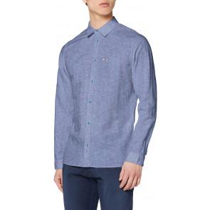 Tommy Jeans Tjm Linen Blend Shirt Camicia, Blu (Twilight Navy C87), Small Uomo