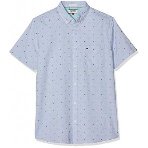 Tommy Jeans Tjm Short Sleeve Dobby Shirt Camicia Casual, Blu (Limoges 434), S Uomo
