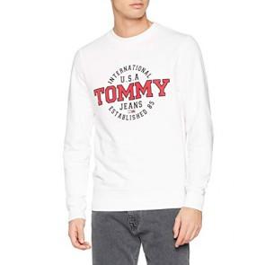 Tommy Jeans Uomo Circular Crew Felpa Maniche lunghe Bianco (Classic White 100) Small