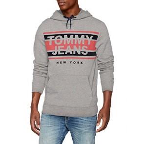 Tommy Jeans Uomo Essential Graphic Hoodie Felpa Maniche Lunghe Grigio (Lt Grey Htr 038) X-Small
