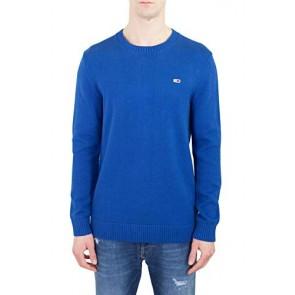 Tommy Jeans Uomo - Maglia Basic in Cotone Premium Blu Intenso - Taglia XL