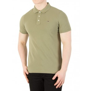Tommy Jeans Uomo Polo slim di base, Verde, Large