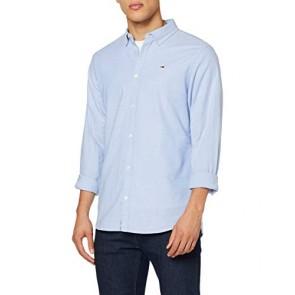 Tommy_Jeans Tjm Stretch Oxford Shirt Camicia, Blu (Blue 414), Large Uomo