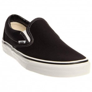 Vans Classic Slipon Black White Canvas Mens Trainers Size 9 UK