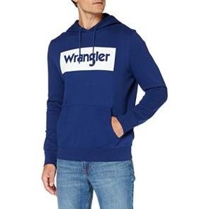 Wrangler Logo Hoodie Cappuccio, Blu (Blue Depths Xjy), Medium Uomo