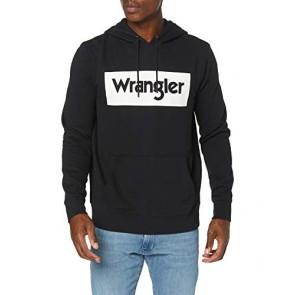 Wrangler Logo Hoodie Cappuccio, Nero (Black 100), X-Large Uomo